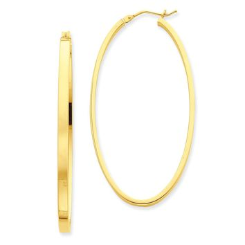3mm x 54mm 14k Yellow Gold Polished Flat Tube Large Oval Hoop Earrings