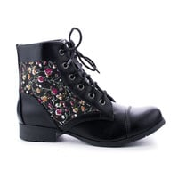 Gonia Flower By Soda, Round Toe Lace Up Combat Ankle Boots