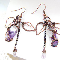 Copper Wire Wrapped earrings FREE SHIPPING, amethyst.