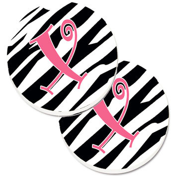 Monogram Initial X Zebra Stripe and Pink  Set of 2 Cup Holder Car Coasters CJ1037-XCARC