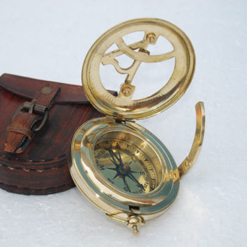 Vintage Sundial Compass Brass Personalized by AllNauticalItem