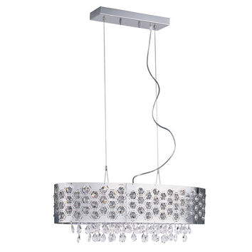Trans Globe Lighting MDN-1093 Six-Light Pendant -Chrome With Clear Crystals