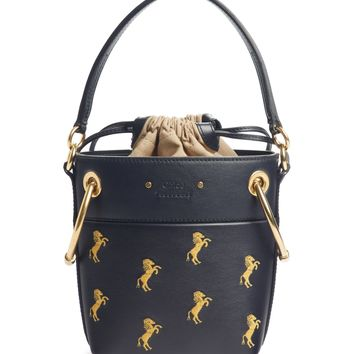 Chloé Roy Mini Embroidered Leather Bucket Bag   Nordstrom