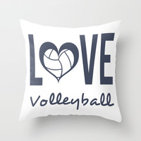 Love Heart Volleyball (blue) Throw Pillow by raineon