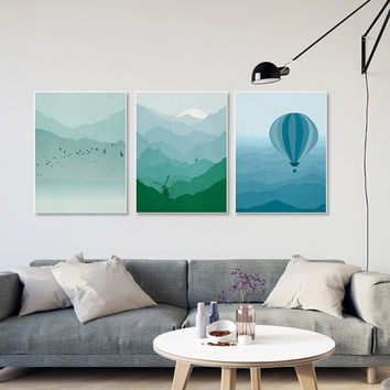 Piece Modern Abstract Landscape Canvas A4 Art Print Poster Lighthouse Wall Pictures Living Room Home Decor Paintings No Frame