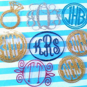 Glitter Monogram, Glitter Decals, glitter monogram stickers, decals for rtic cup