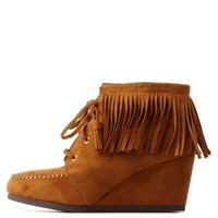 Tan Lace-Up Wedge Fringe Booties by Charlotte Russe
