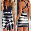 V-Neck Backless Striped Irregular Hem Black and White Dress