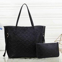 LV Louis Vuitton New fashion monogram leather two piece suit shoulder bag handbag women Black