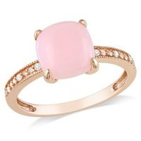 10k Rose Gold Pink Opal and Diamond Ring, (0.03 cttw, G-H Color, I1-I2 Clarity): Jewelry: Amazon.com