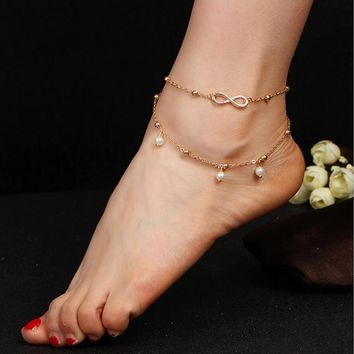 RscvonM 2017 New Hot 1PC Hot Summer Beach Ankle Infinite Foot Jewelry Anklets ankle bracelets for women gold color silver color