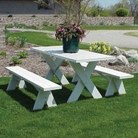 Dura-Trel 6 ft. Traditional White Picnic Table With Benches - Walmart.com