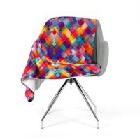 "Danny Ivan ""Squares Everywhere"" Rainbow Shapes Fleece Throw Blanket"