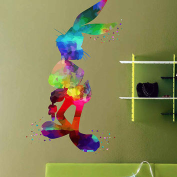 kcik2014 Full Color Wall decal Watercolor Character Disney Sticker Disney children's room Bugs Bunny rabbit