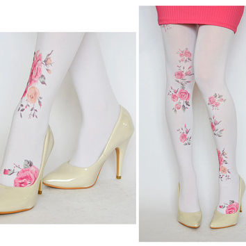 Tights With Vintage Pink Flowers,Print tattoo Leggings,Fashion Pantyhose