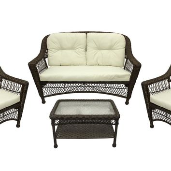 4-Pc Somerset Dark Brown Resin Wicker Patio Loveseat  Chairs & Table Furniture Set - Cream Cushions