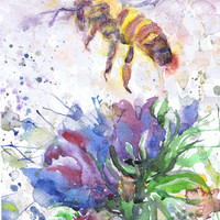 Bee Print, Honey Bee Art, Abstract Watercolor Flowers Painting, Insect Art Bee Gift, Watercolour, bee wall art, Botanical art, bee painting