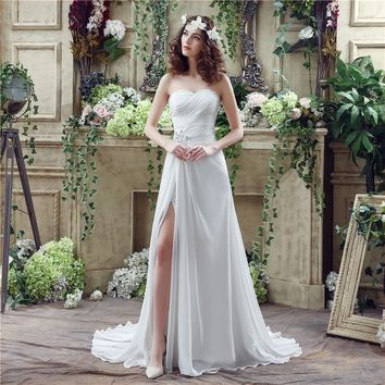 Side Slit A-Line White And Off White Brush Train Women's Dress Wedding Dress