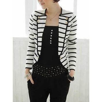 Fashion Cotton Long Sleeve Notched Open Stitch Striped Womens Blouses