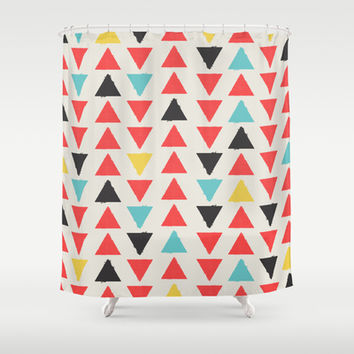MULTI COLOR NATIVE TRIANGLES Shower Curtain by Allyson Johnson