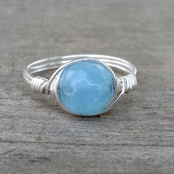Silver Wire Wrapped Aquamarine Ring, Faceted Blue Gemstone Silver Wire Wrap Ring, Boho Hippie Ring Blue Stone Wrap Ring Silver Wirewrap Ring
