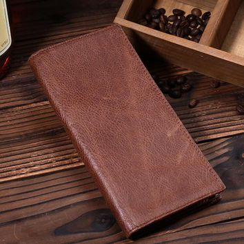 fashion retro genuine leather long wallet handmade card hold purse gift 10 2
