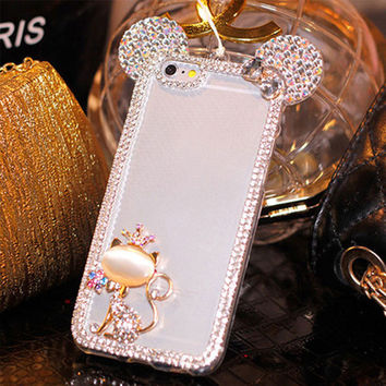 Bling Star Crystal Rhinestone Diamond Case For iphone 6 Plus 5 5S 4 4S Phone Case Back Cover For Apple iphone 6 Hello Kitty Case