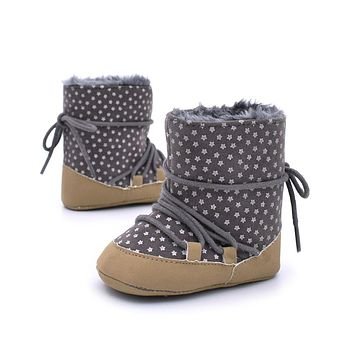 Winter Warm First Walker Baby Girls Toddler Boots Infant Anti-slip Soft Sole Shoes