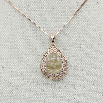 Pear Cut 2.0CT Natural Citrine Crystal 925 Sterling Silver Vintage Design Pendant Necklace Chain