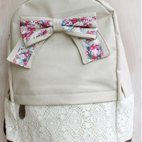 Fashion Light Cream Lace Backpack with Red Floral Bow