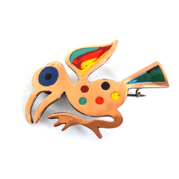 Vintage Copper Bird Pin Brooch Colorful Enamel Native American Indian Southwest