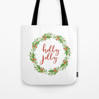 Christmas wreath-holly jolly Tote Bag by Sylvia Cook Photography