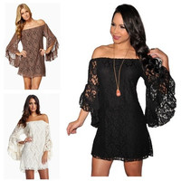 NEW Sexy women Lace off shoulder Floral Strapless mandarin sleeve Prom Mini Dress