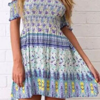 Green and Purple Off Shoulder Sun Dress
