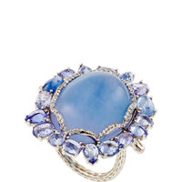 18K White Gold Blue Chalcedony and Blue Sapphire Ring