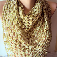 Golden Silk Floss Crochet  Lace Shawl Granny Square Boho Lacy Shawl Prayer Shawl Wedding Shawl Bridal Shawl Triangle Scarf Festival Shawl
