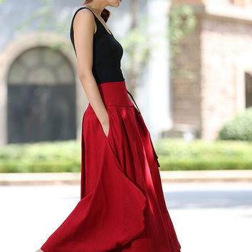 Red wrap skirt women linen skirt long skirt high waisted long skirt -custom made (1025)
