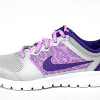 Nike Kid's Flex 2015 Run Silver/Purple Running Shoes 724993 002 PS