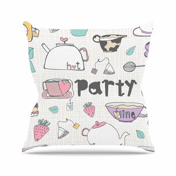 "MaJoBV ""Tea Party"" White Multicolor Outdoor Throw Pillow"