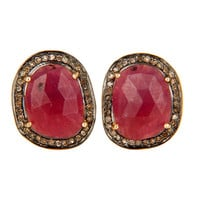 Natural Ruby Pave Diamond 18K Gold And Sterling Silver Cufflinks Gift For Mens
