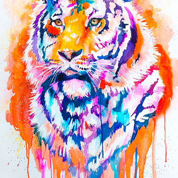 Tiger watercolor painting print , animal, illustration, animal watercolor, animals paintings, animals, portrait,