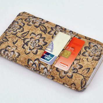 Felt Galaxy Samsung Note 4 sleeve with 2 credit card slot, Cork Note 4 case, simple Note 4 pouch holder, Samsung Galaxy felt sleeve, Note 4