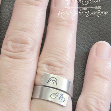 Mountain Ring Silver Jewelry, Bicycle Wedding Gifts, Bicycle Ring Hand Stamped, Mountain Bike Jewelry, Bicycle Gifts for Her