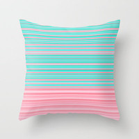 Aqua Pink Ombre Stripe Throw Pillow by Dale Keys | Society6