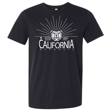 California Golden State White Print Asst Colors Mens Lightweight Fitted T-Shirt/tee