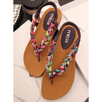 Colorful Braided Flat Sandals
