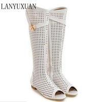HOT SALE Women Cool boots high quallity hight cut peep toes lady casual shoes women's sexy Low-heeled sandals Big size 34-47 362