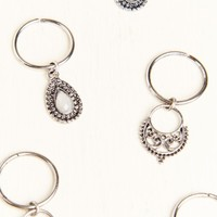 Six Pack Silver Charm Hair Rings