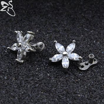 Stainless Steel Flower Dermal Body Piercing Trendy White Cubic Zircon Dermal Anchor Industrial Piercing Jewelry