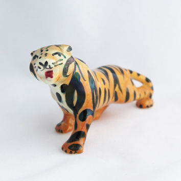 Hand Painted Ceramic Tiger Figurine Pottery Mid Century / Striped Orange Black Bengal / Cincinnati Bengals Football Mascot / Collector Gift